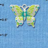 C2441 - Butterfly - Lime Green & Blue - Silver Charm