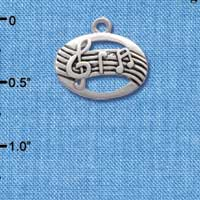 C2516 - Oval with Music Notes - Silver Charm