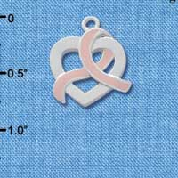 C2574 - Heart Outline with Pink Ribbon Looping Through - Silver Charm