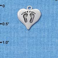 C2584 - Heart with Baby Feet - Silver Charm