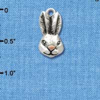 C2593 - Antiqued Bunny Head - Silver Charm