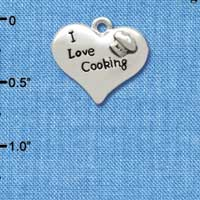 C2603 - I love Cooking Heart with Chef Hat - Silver Charm