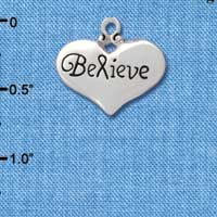 C2704 - Believe with Ribbon Heart - Large - Pendant - Silver Charm
