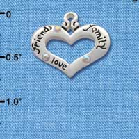 C2712 - Heart with 3 AB Crystals - Friends, Family, Love - Silver Charm