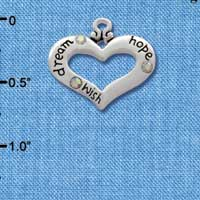 C2716 - Heart with 3 AB Crystals - Dream, Hope, Wish - Silver Charm