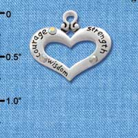 C2717 - Heart with 3 AB Crystals - Courage, Strength, Wisdom - Silver Charm