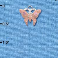 C2762 - Butterfly - Pink - 2 Pink Stones - Silver Charm
