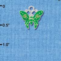 C2763 - Butterfly - Lime Green - 2 Stones - Silver Charm