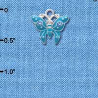 C2764 - Butterfly - Tropical Blue - 2 Stones - Silver Charm