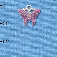 C2765 - Butterfly - Purple - 2 Stones - Silver Charm