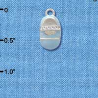 C2794+ - Light Blue Enamel Baby Shoe with Stone Strap - Silver Charm