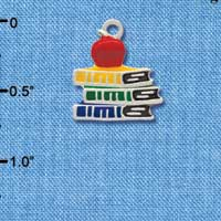 C2807 - Enamel School Books with a Red Apple - Silver Charm