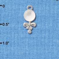 C2824+ - Clear Frosted Baby Rattle - Silver Charm