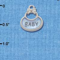 C2829+ - 2-Sided Blue Baby Bib - Silver Charm