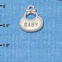 C2830+ - 2-Sided Clear Frosted Baby Bib - Silver Charm