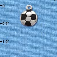 C2892+ - Silver Soccerball - 2 Sided - Silver Charm