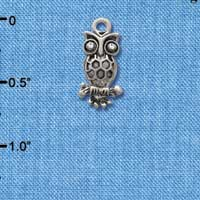 C2895 - Antiqued Silver Owl with Clear Swarovski Crystal Eyes - Silver Charm