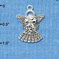 C2962 - Antiqued Silver Angel with Bow & Swarovski Crystal - Silver Charm