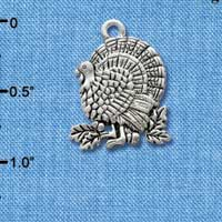 C2966+ - Antiqued Silver Turkey - 2 sided - Silver Charm
