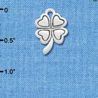 C3145 - Antiqued Silver Four Leaf Clover - Silver Charm (Left and Right)