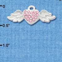 C3155 - Pink Swarovski Crystal Heart with Silver Textured Wings - Silver Charm