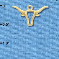 C3257 - Large Longhorn Head Outline Gold Charm
