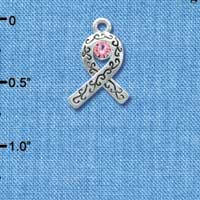 C3273 - Silver Ribbon with Scrollwork & Pink Swarovski Crystal - Silver Charm ( 6 charms per package)