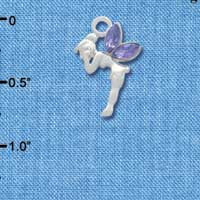 C3326* - Small Silver Fairy with Purple Resin Wings - Silver Charm (left and right)