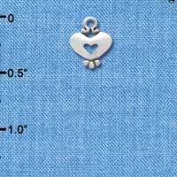 C3356+ - Mini Silver Heart with Cutout - 2 Sided - Silver Charm