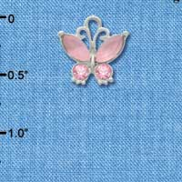 C3491 tlf - Butterfly with Frosted Pink Resin Wings & Pink Swarovski Crystals - Im. Rhodium Charm