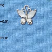 C3492 tlf - Butterfly with Frosted White Resin Wings & Clear Swarovski Crystals - Im. Rhodium Charm