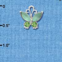 C3494 tlf - Butterfly with Frosted Green Resin Wings & Peridot Swarovski Crystals - Im. Rhodium Charm