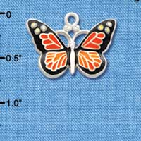 C3547 tlf - Large Monarch Butterfly with 6 AB Swarovski Crystals - Silver Charm