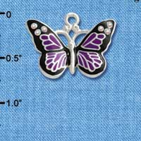 C3548 tlf - Large Purple Butterfly with 6 AB Swarovski Crystals - Silver Charm