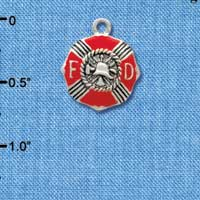 C3560 tlf - Red Enamel Fire Department Medallion - Silver Plated Charm