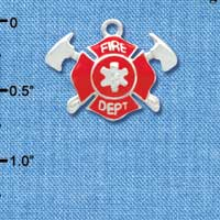 C3561 tlf - Red Fire Department Shield with Axes - Silver Plated Charm