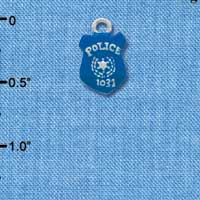 C3596 tlf - Blue Policeman's Badge - Silver Charm