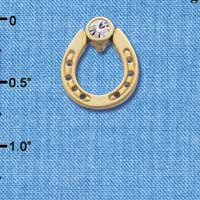 C3609 tlf - Gold Horseshoe with top Clear Swarovski Crystal - Gold  Pendant