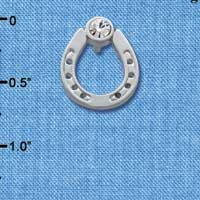 C3610 tlf - Silver Horseshoe with top Clear Swarovski Crystal - Silver Brooch