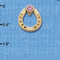 C3611 tlf - Gold Horseshoe with top Pink Swarovski Crystal - Gold  Pendant