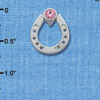 C3612 tlf - Silver Horseshoe with top Pink Swarovski Crystal - Silver Brooch