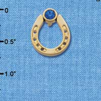 C3613 tlf - Gold Horseshoe with top Blue Swarovski Crystal - Gold Pendant