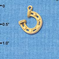 C3615 tlf - Gold Horseshoe with Side Loop - Gold Charm