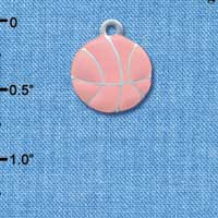 C3621 tlf - Large 2-D Pink Basketball - Silver Charm