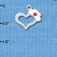 C3646 tlf - Open Heart with Nurse Hat - Silver Charm