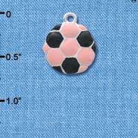 C3653 tlf - 2-D Pink Soccerball - Silver Charm