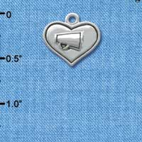C3654 tlf - 2-D Silver Heart with Megaphone - Silver Charm