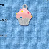 C3657 tlf - 3-D Pink Cupcake with Sprinkles - Silver Charm