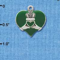 C3672 tlf - Large 2-D Claddagh on Green Heart - Silver Charm