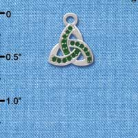 C3673 tlf - Small 2-D Green Trinity Knot - Silver Charm